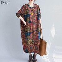 Plus Size Spring Dresses Women 2020 Fashion Long Sleeve Vintage Print Maxi Dress Robe Femme Loose Casual Long Fleece Dress 4XL