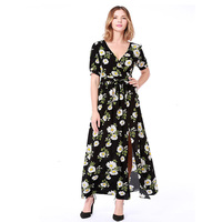 Women Bohemian V neck Short Sleeve Floral Print Ethnic Summer Dress 2019 Beach Long Maxi Dress Retro Hippie Vestidos Boho Dress