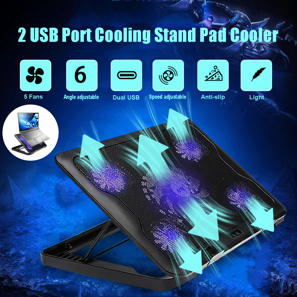 S SKYEE Laptop Cooler 2 USB Ports And 5 Cooling Fans LED USB Laptop Cooling Pad Notebook Stand For Laptop PC 7-17inch