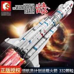 W magazynie Sembo 107025 city Carrier uruchomienie pojazdu astronauta wędrująca ziemia ustawia klocki zabawki edukacyjne Technic