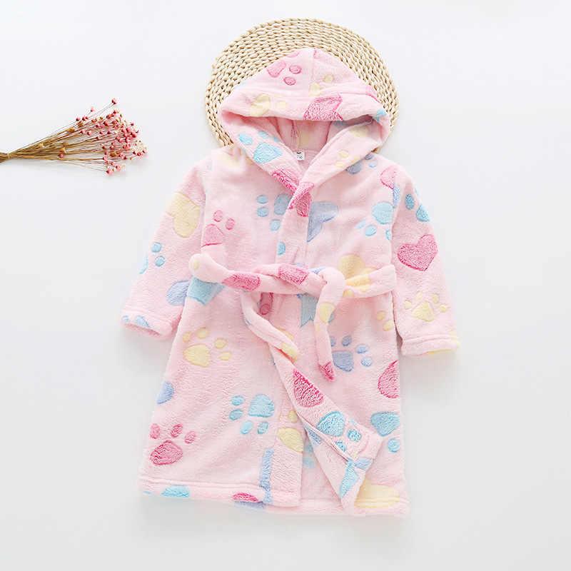 Baby Boy túnicas de niña niños batas de baño de franela invierno de felpa pijama ropa de casa pijamas niños espesar ropa de dormir caliente