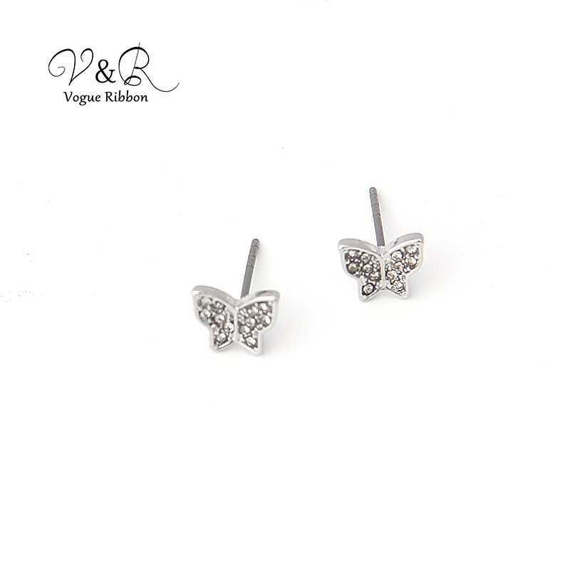 3 pairs a set, cute stud earring imitation rhodium plated, 1pair CZ stone stud, 1 pair pave stone butterfly   stud earring, 1 pa (5)