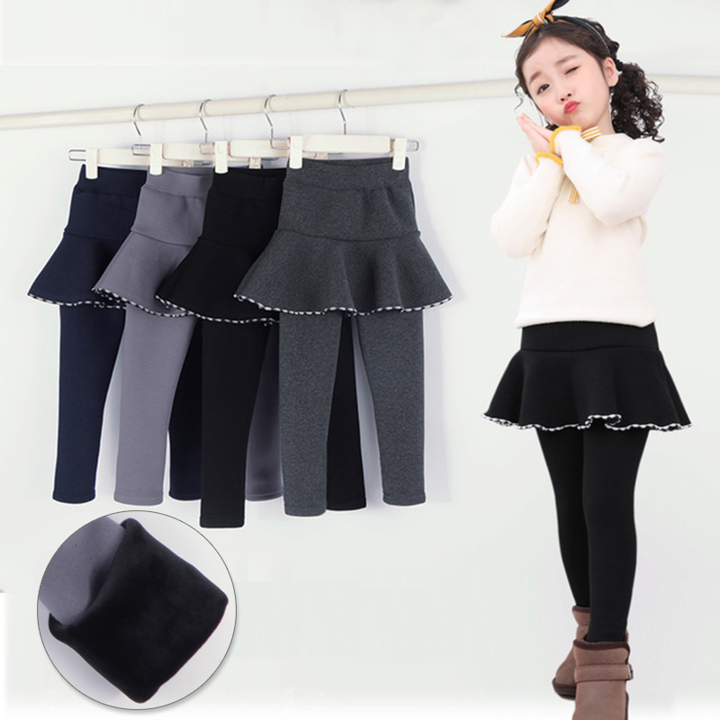 Skirt Leggings For Girls Kids Leggins Toddler Korean Baby Winter Warm Leggings Velvet Children Pants Fleece Lined Black Grey