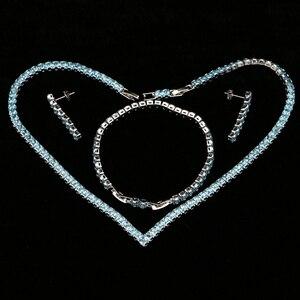 Image 2 - Himmel Blau Zirkonia Silber 925 Schmuck Sets Für Frauen Hochzeit Armband Anhänger Ohrringe Halskette Braut Schmuck Sets