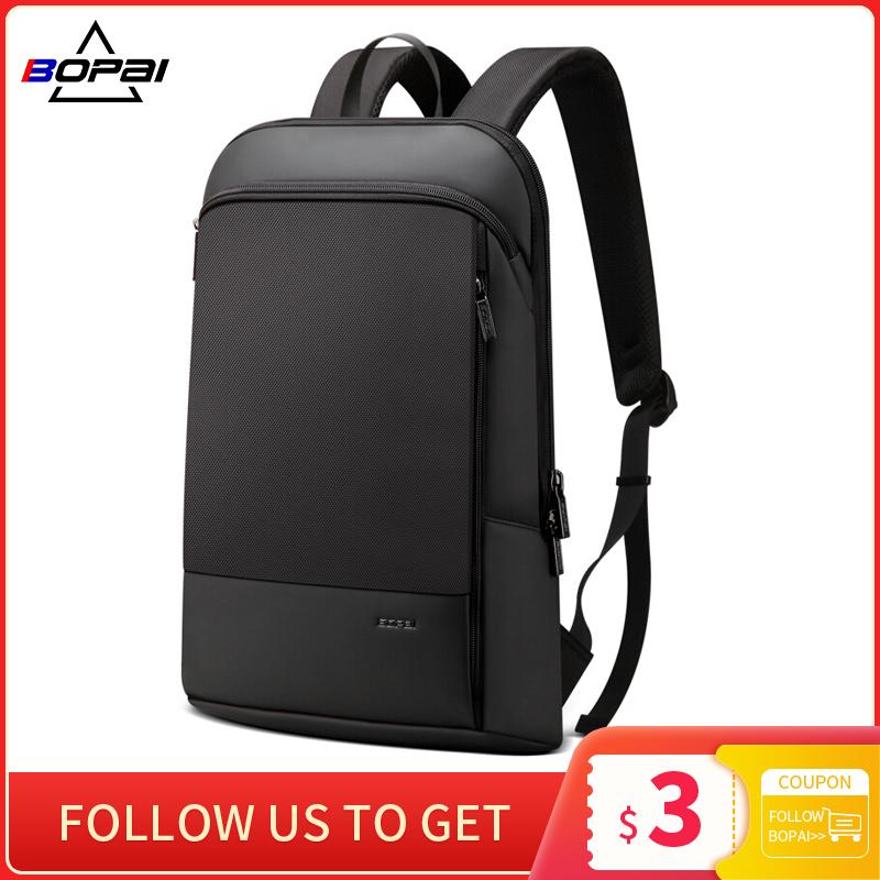BOPAI Men Backpack Slim Laptop Back Pack For 15.6 Inch Fashion Office Waterproof Business Backpacks Women Ultralight Rucksack