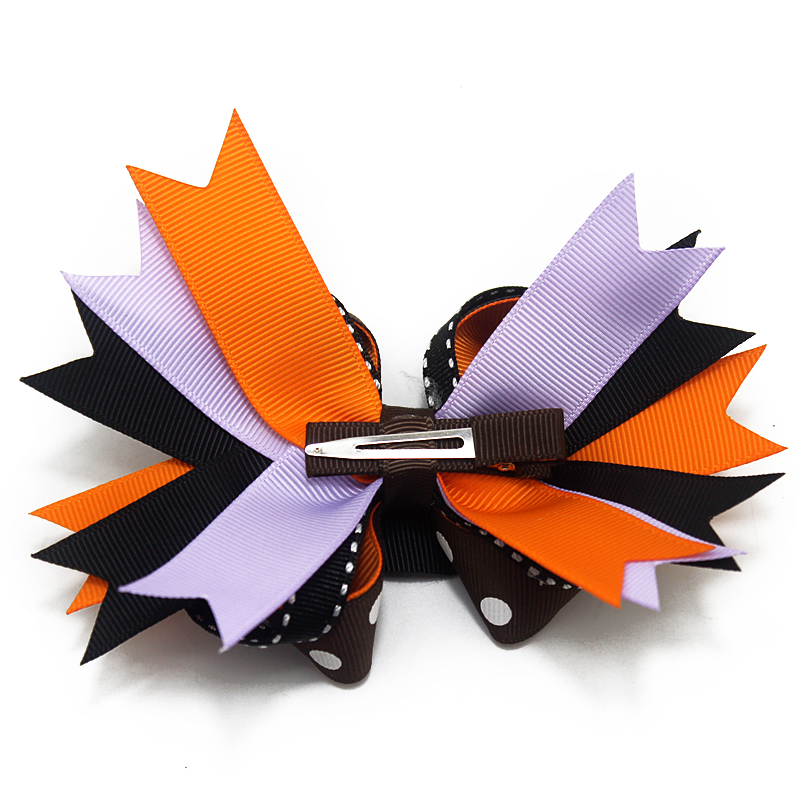 "7/"" Halloween Pumpkin Ribbon Grosgrain Hair Bow with Rope Funny Bat Hair Elastic"