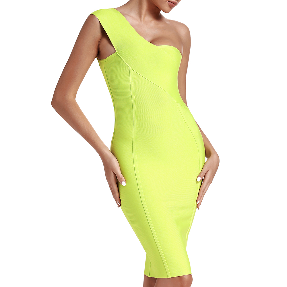 Image 3 - Ocstrade Celebrity Bandage Dress New Arrival 2019 Summer Women Neon Green Bandage Dress Bodycon One Shoulder Evening Party Dress-in Dresses from Women's Clothing