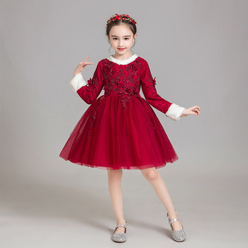 Little Kids Baby Infant Sweet Cute Wine-red/Pink Florals Birthday Evening Party Prom Dress Toddler Girls Long Sleeves Warm Dress