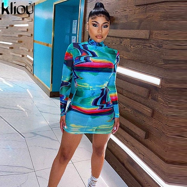Kliou Tie Dye Colorful Mesh See Through Print Mini Dress Women Turtleneck Long Sleeve Skinny Bodycon Casual Streetwear Clubwear 1