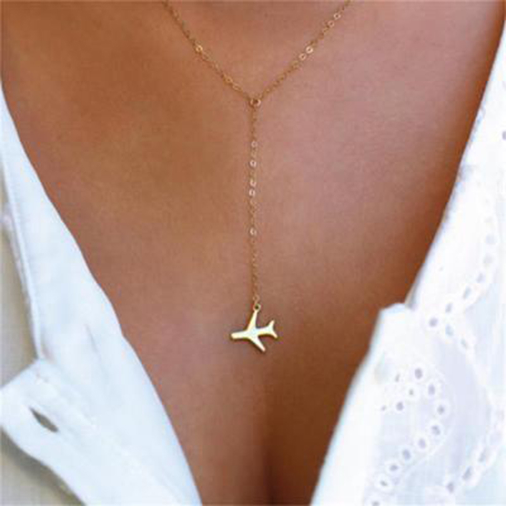 Hot Sale Gold Gun Black Plane Necklace Airplane Pendant Necklace Aircraft Chain Layered Necklace For Women Tiny Dainty Jewelry image