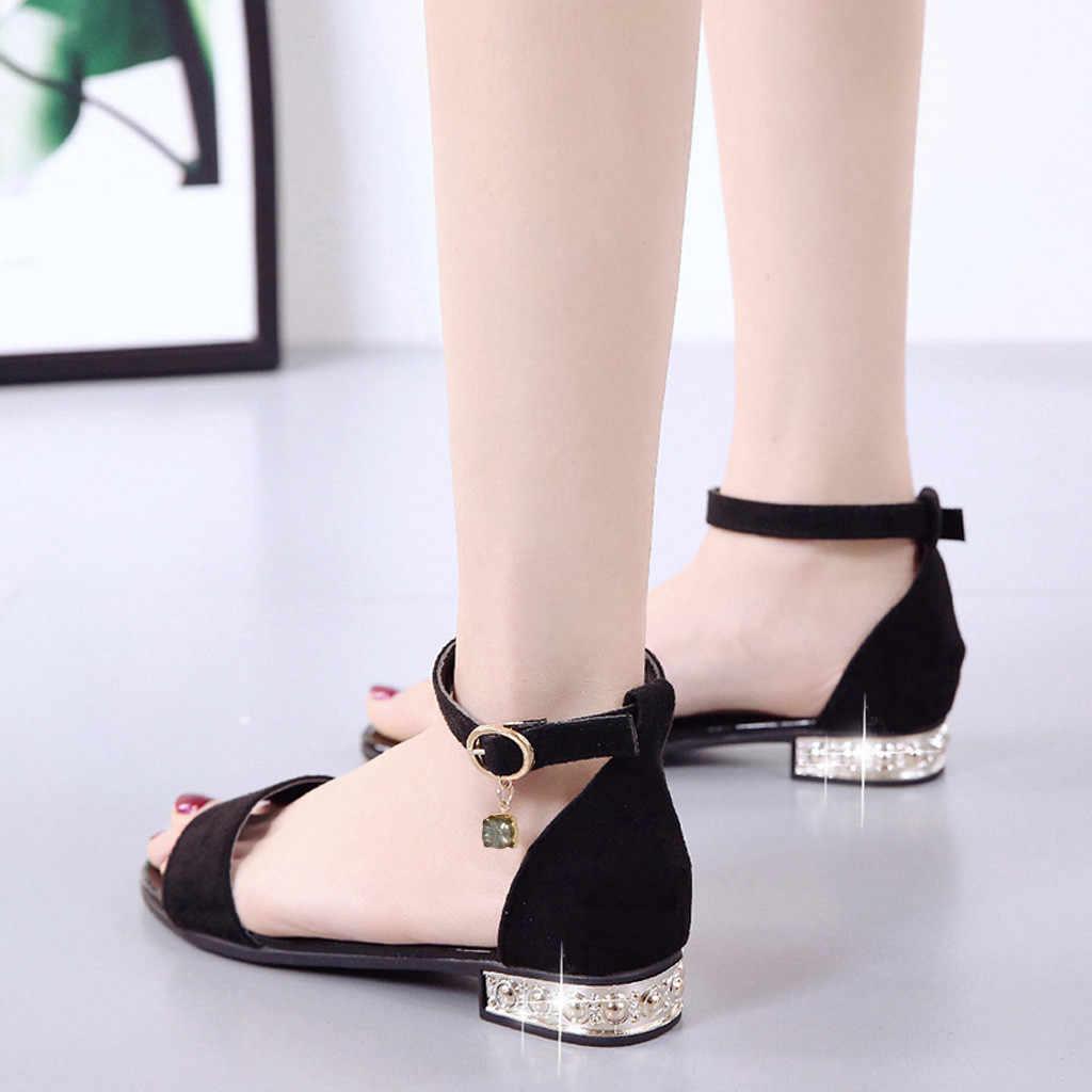 Moda sandały na obcasie kobiety mieszkania eleganckie Peep Toe sandały PU kwadratowe obcasy kryształowa klamra panie obuwie Sandalias Mujer # s