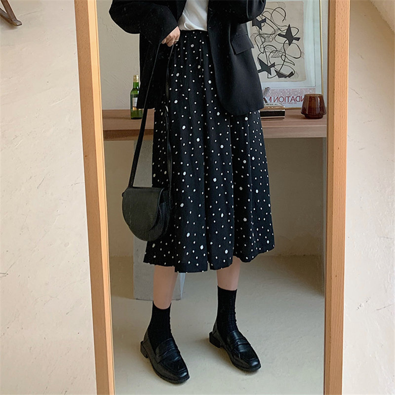 Alien Kitty High Waist Polka Dots Female Elastic-Waist Hot Chiffon Elegant Loose 2020 Women Casual All-Match Brief Long Skirt