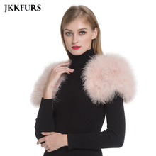2019 Women Real Fur Cape Shrug Genuine Ostrich Feather