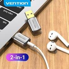 Vention usb placa de som externo interface de áudio usb adaptador de placa de som 3.5mm para computador portátil ps4 fone de ouvido placa de som usb