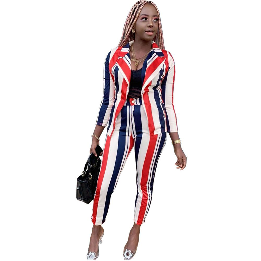 2020 New Spring  Women Sexy Classic Striped Full Sleeve Blazer Top Long Pencil Pants High Rise Leisure ladies suit 2 Piece Set