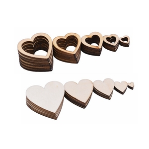 Heart Wooden Confetti Table Scatter Rustic Wood Table Decoration DIY Wood Craft Wood Slices Discs Christmas Wedding Ornament