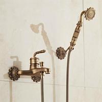 European Style Antique Retro Bathroom Shower Faucet Copper Brass Luxury Shower Set with Hand Shower Antique Bathtub Crane