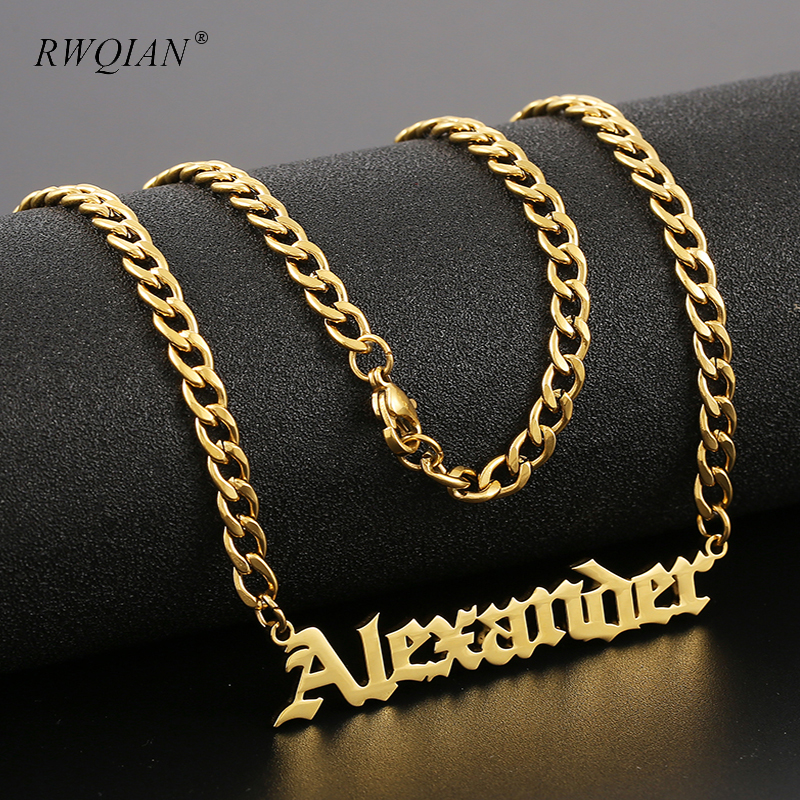 Men Personalized Name Necklace Stainless Steel Pendant Custom Nameplate Necklace for Women Men Chain Choker Custom Jewelry Gift
