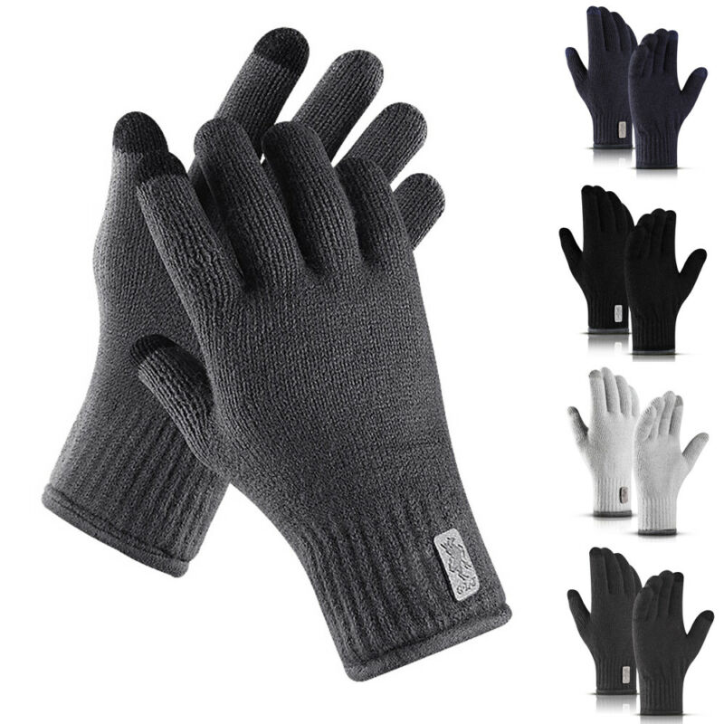 Newly Touch Screen Winter Warm Kint Full Finger Fleece Lined Thermal Gloves Unisex Knitted Plus Velvet Warm Touch Screen Gloves