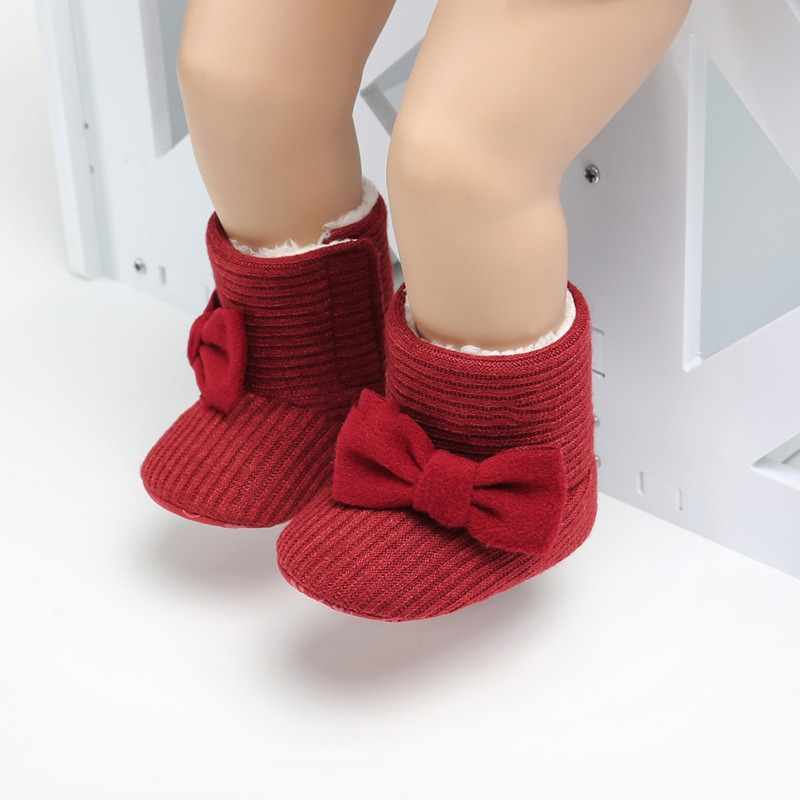 NEW Autumn Winter Baby Big Bow Knit Wool And Velvet Warm Boots Toddler Shoes Cute Style Snow Soft Booties Red Pink Gray