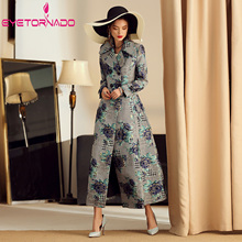 Houndstooth Flower Jacquard Trench Coat Plus Size Women Autu