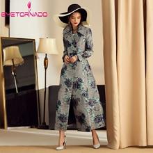 Houndstooth Flower Jacquard Trench Coat Plus Size Women Autu