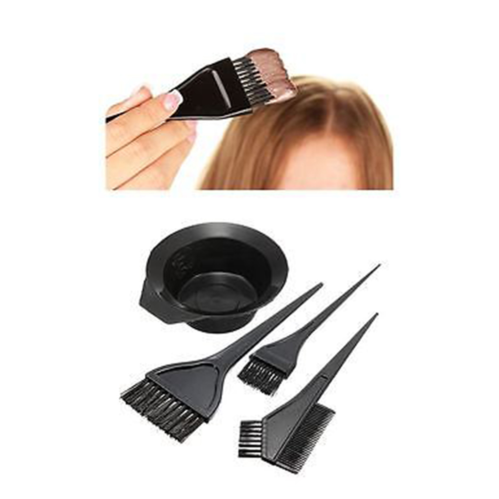 4Pcs Makeup Accessories Hairdressing Combo Salon Hair Colouring Brush Dye Comb Mixing Bowl Tint Tool Set Styling Tools Kit