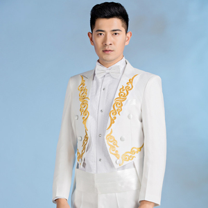 Image 5 - PYJTRL New Male Gold Silver Embroidery Lapel Tail Coat Stage Singer Groom Black White Wedding Tuxedos For Men Costume Homme