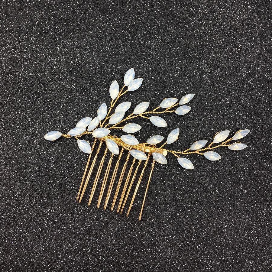 Горячая новинка, Опаловая Свадебная расческа для волос с листьями и кристаллами, простой свадебный головной убор для свадебной вечеринки - Цвет: 2
