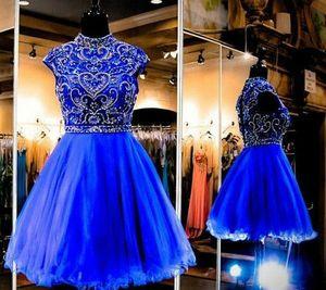 A-Line Royal Blue Short Beaded Organza Homecoming Dresses with Pockets Knee Length Graduation Dresses for Juniors