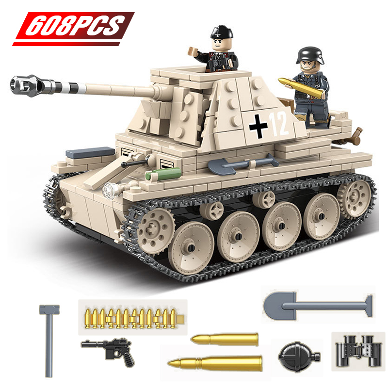 Military Self-anti-tank Gun Building Blocks Fit  German Tank Bricks WW2 Army Soldier Weapon Toy Gift For Children