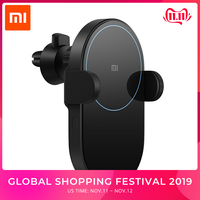 New Xiaomi Mi Wireless Car Charger 20W 2.5D Glass Electric Auto Pinch Ring Lit Charging for Xiaomi Smart Phone iPhone Samsung