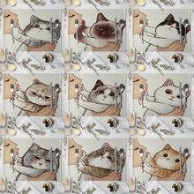Cat Linen Table Mat Cute Cat Cartoon Animal Pattern Placemats For Children Kids Kitchen Dining Place Mats Pads