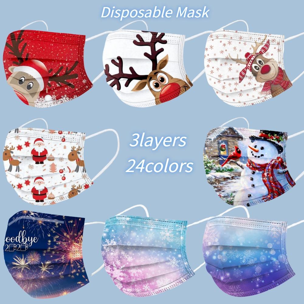 Disposable Masks Mascarillas Elk-Printed Adult 10pcs Fast-Delivery