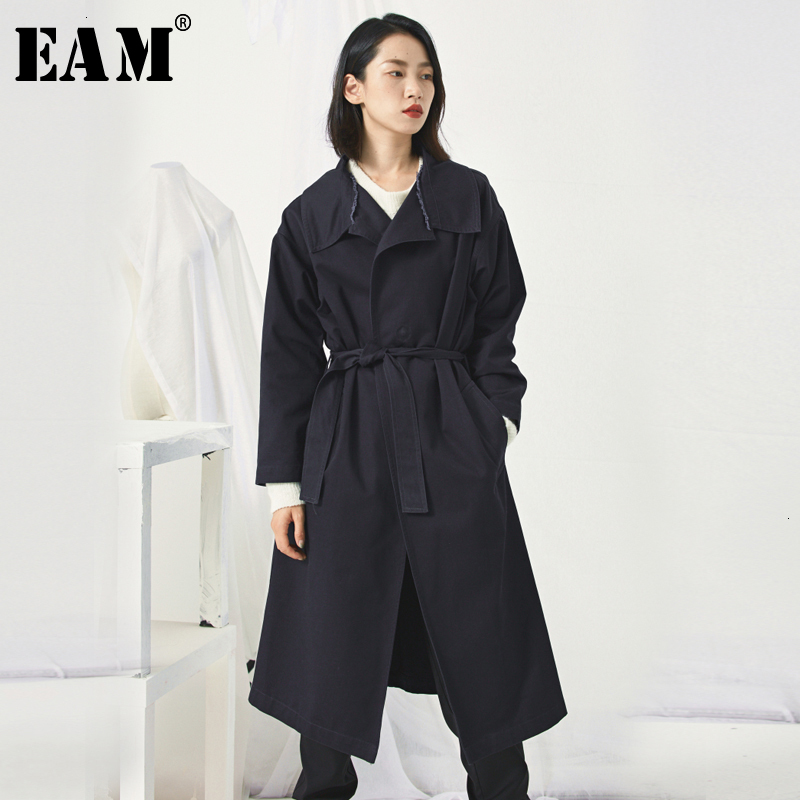 [EAM] Women Dark Blue Bandage Big Size Trench New Lapel Long Sleeve Loose Fit Windbreaker Fashion Spring Autumn 2020 19A-a190