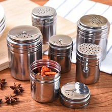 Household Stainless Steel Seasoning Jar Pepper Spice Salt Shaker Rotating Cover Kitchen Cooking Barbecue Tool