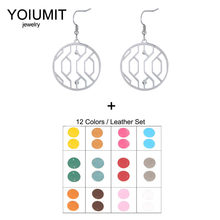 Cremo Argent Stainless Steel Round Danging Earrings For Women Fashion Jewelry Faux Interchangeable Leather Earrings Femme 2020