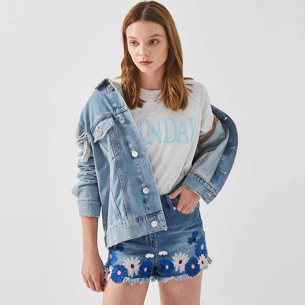 Boho แรงบันดาลใจลูกปัด Embellished DENIM แจ็คเก็ตสตรี 2019 winte ผู้หญิง Coat BOMBER แจ็คเก็ตวินเทจเสื้อ Pearl 2019 outwear