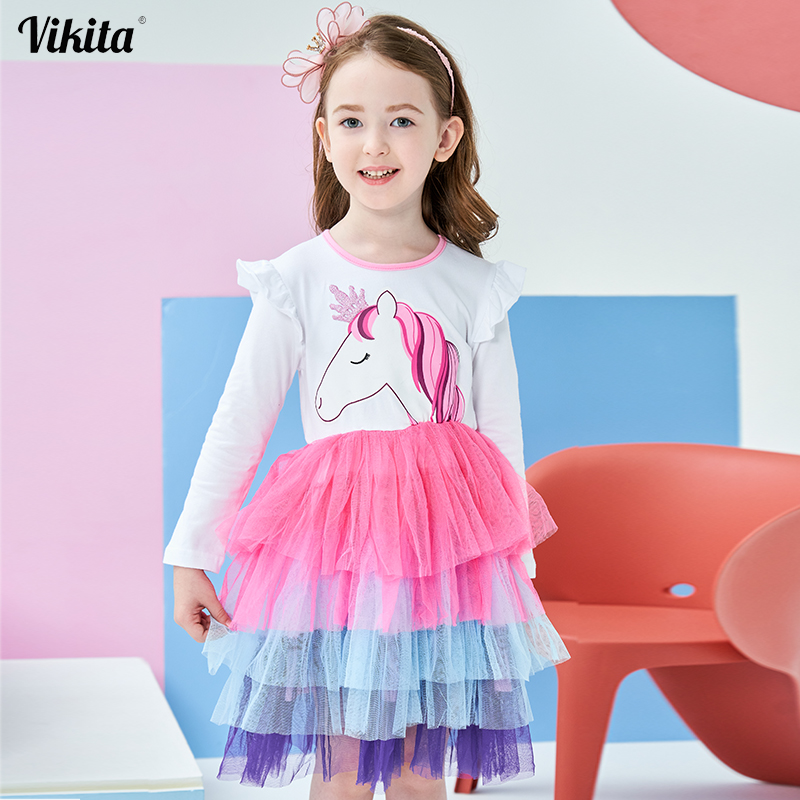 Girls Dress Princess Unicorn Party Dress 2018 Autumn Dress Long Sleeve Toddler