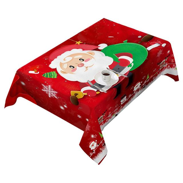 140X180cm Polyester Tablecloth rectangular Home Christmas Decorations Santa Claus Xmas Tabletop Party Decor 2