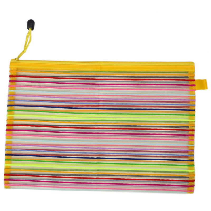 Zip Up Nylon Mesh Multicolor Stripes A4 Paper Documents Pen File Bag Folder