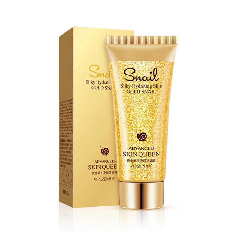 24K Gold Snail Facial Cleanser Moisturizing Cleaning Pores Remove Blackheads Control Oil Face Washing Product For Sensitive Skin image