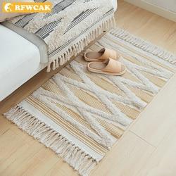 Retro dywan na kanapie salon dywan do sypialni bawełna czernica frędzle przędzy barwionej tabeli Ruuner narzuta gobelin Home Decoration
