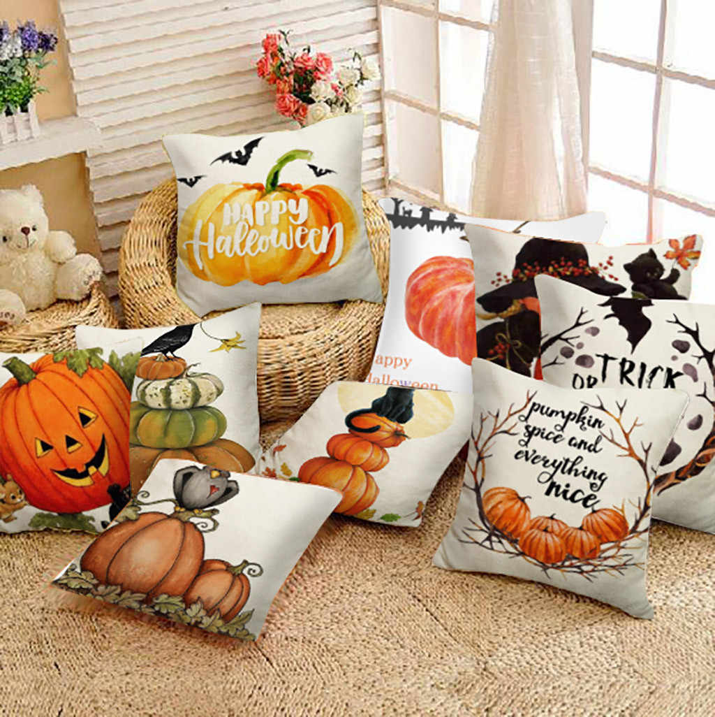 Halloween Pillow Cases Happy Fall Y'all Cotton Linen Sofa Car Pumpkin ghosts Cushion Cover Home Decor 2019 new#p7