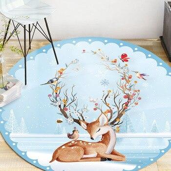 160*160cm Cartoon Animals Flamingo Round Tapete For Living Room Bedroom Home Decoration Carpet Rug Children Kids Soft Play Mat