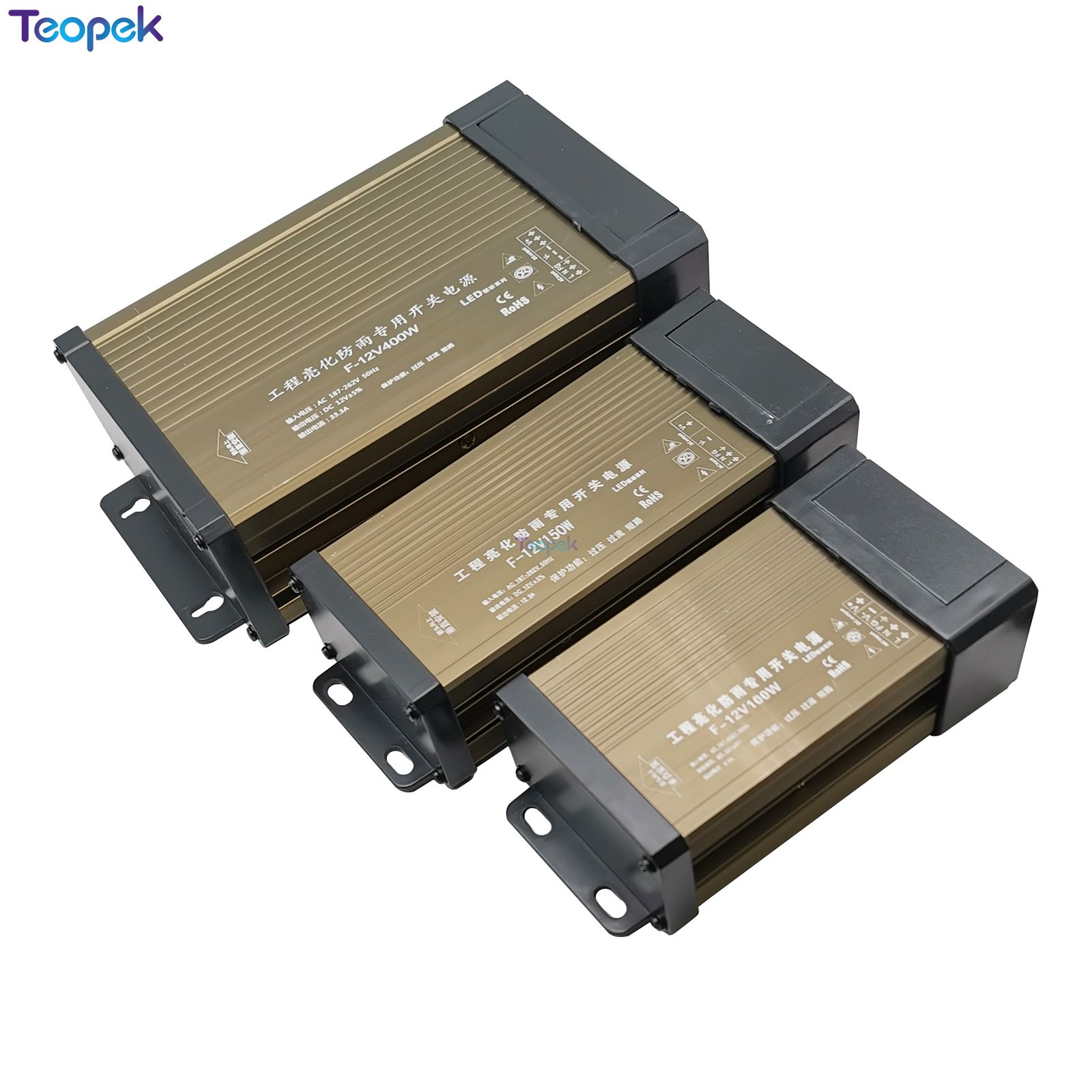 Rainproof Switching Power Supply IP43 DC12V 60W 100W 150W 200W 300W 400W 12V LED Outdoor Transformer DC 12V