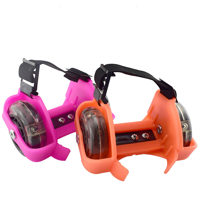 1 Pair Children PVC Roller Shoes Skates Flashed Double Wheels Shoes Roller Portable For Kids Boy And Girl