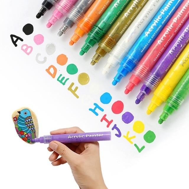 24 Màu Sắc Sơn Acrylic Bút Bút Bút Sơn Cho Đá Tranh Vải Thủ Công Diy Thẻ Làm Nghệ Thuật Đồ Dùng Học Tập