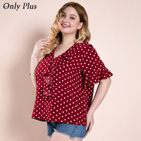 ONLY PLUS Wine Polka Dot Woman Blouse V neck Ruffles Half Sleeve Casual Vintage Office Lady Blouse Plus Size roupas femininas