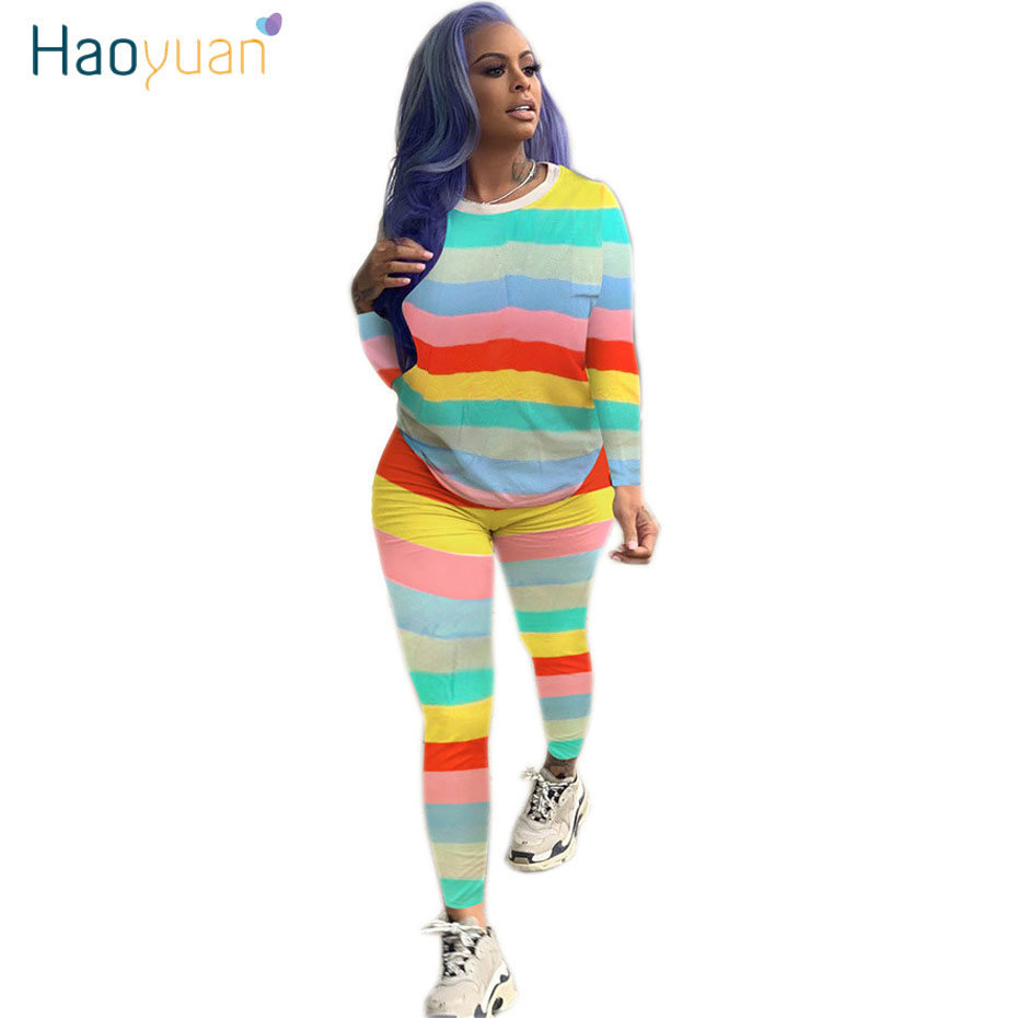 HAOYUAN Plus Size Two Piece Set Fall Tracksuit Top And Pant Sweat Suit Festival Clothing Matching Set 2 Piece Outfits For Women